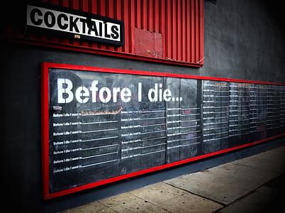 before i die printed chalkboard on wall