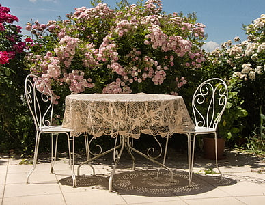 two white metal chairs and table beside pink petaled flowering plant