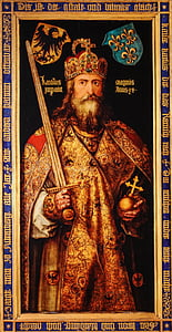 King holding sword and cross painting