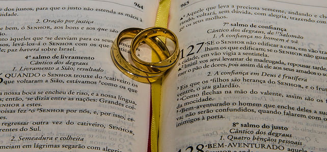 gold-colored wedding ring set on open bible