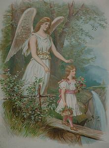 angel behind girl walking on bridge painting