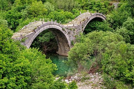 gray brick bridge above body of water near trees