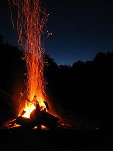 burning firewoods at night