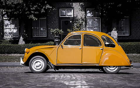 brown Volkswagen Beetle coupe in selective color photography