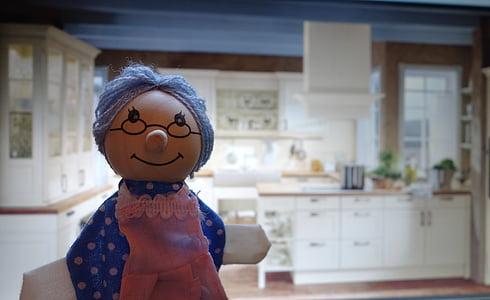 doll, grandma, kitchen, children toys, wood, play