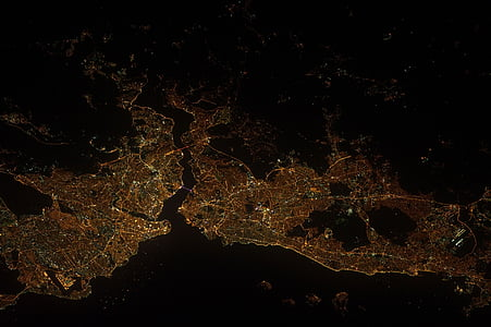 panorama, earth, istanbul, turkey, night, lights