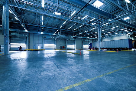 warehouse with trailer truck