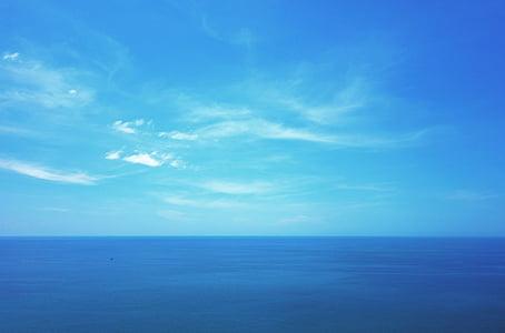 blue body of water under blue sky