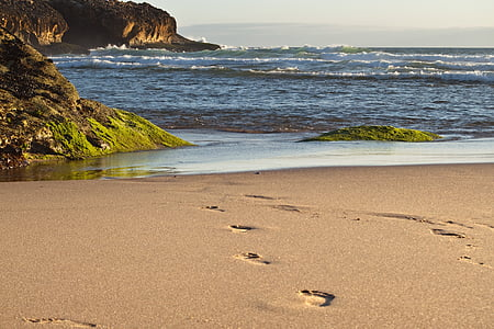 white sand with footprints