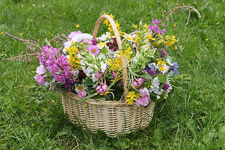 basketful of petaled flowers