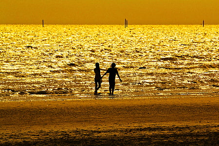 silhouette photography of two person at beach side