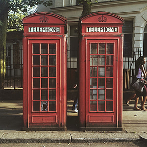 two red telephone booth