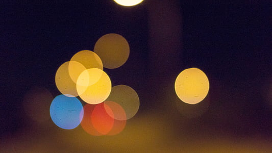 yellow and red light bokeh