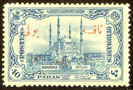 white and blue postage stamp