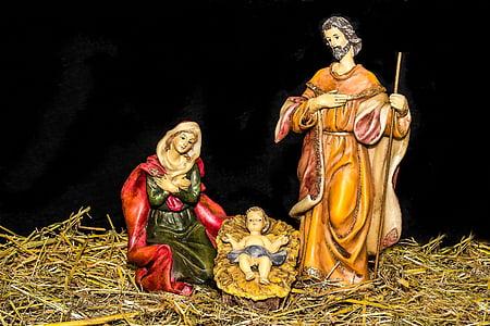 christmas crib figures, jesus child, birth of jesus, maria, joseph, jesus