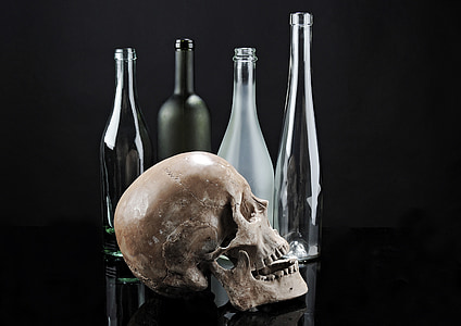 skull beside glass bottles