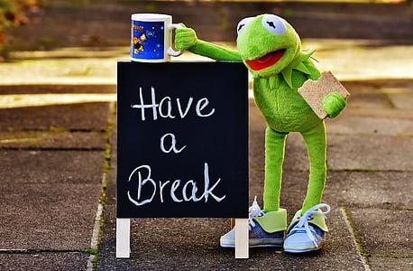 Have a Break chalkboard beside frog plush toy holding mug