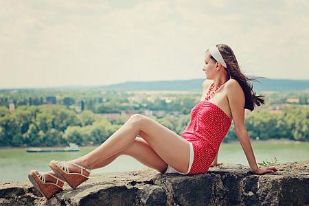 summer, young woman, long legs, woman, girl, polka dot dress