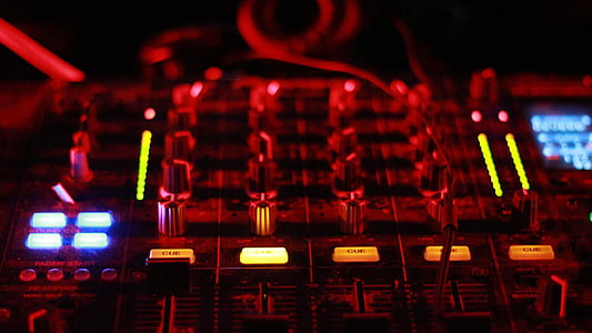 red and black music mixer