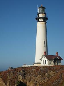 white lighthouse on top of mountain