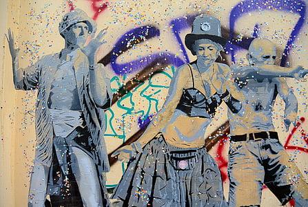 woman and two man dancing wall art