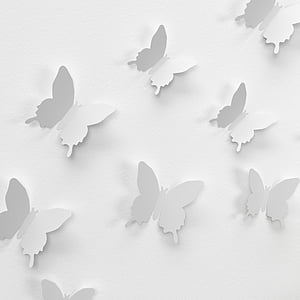 white butterfly papers on white surface