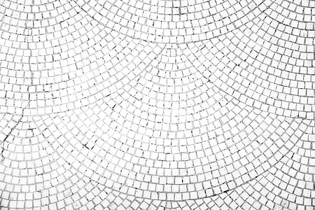 photo of white mosaic floor tiles