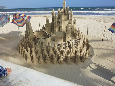 brown sand castle near body of water