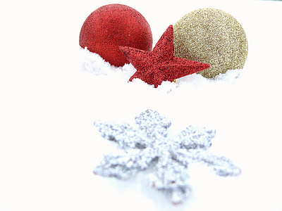 baubles and stars on snow covered surface