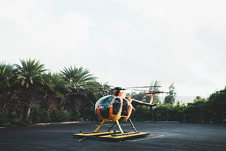 orange and black helicopter on land