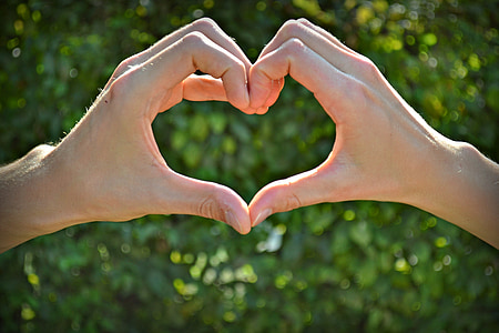 person's hand forming heart sign