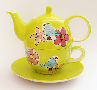 green-red-and-blue bird and flower print teacup and teapot set