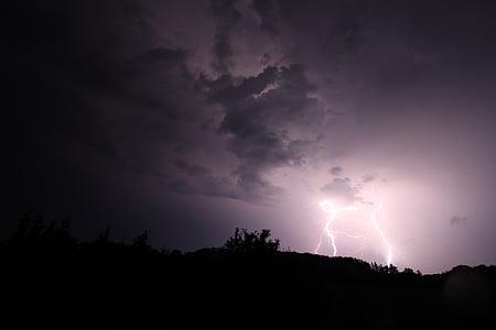 lightning strike with gray skies