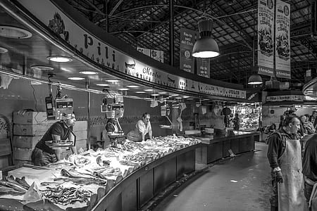grey scale photography of Market Place