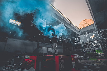 landscape photo of blue smoke