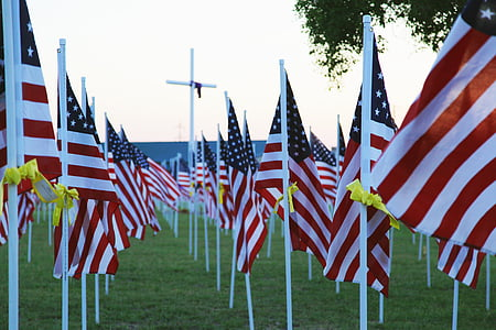 U.S.A. flags on the ground