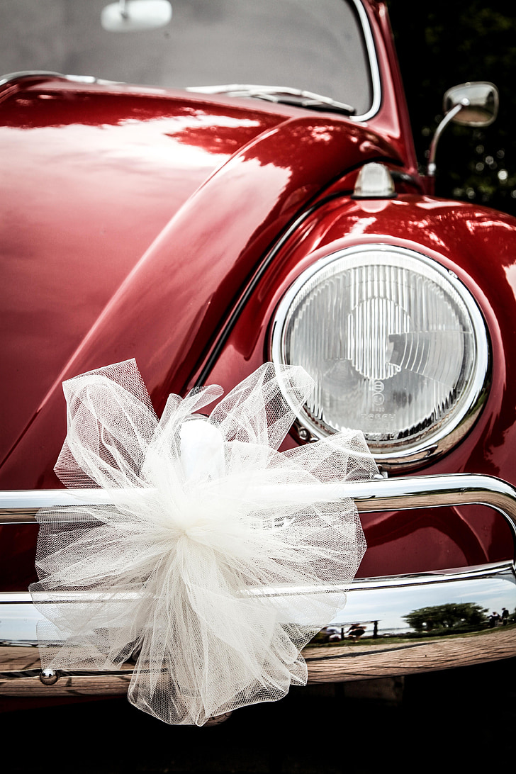 closeup photo of white bow on red Volkswagen Beetle headlight