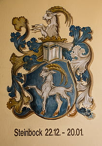 blue and brown ram with shield wall decor