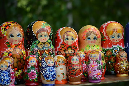 assorted-character Russian nesting dolls collection