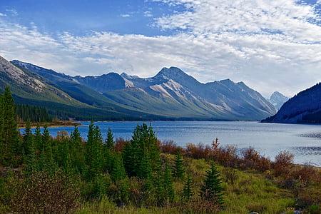 photo of mountains near lake at daytime