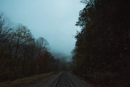 railway under the cloudy sky