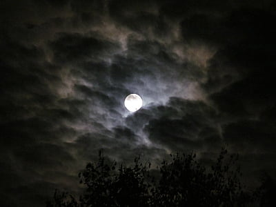 full moon on cloudy sky wallpaper