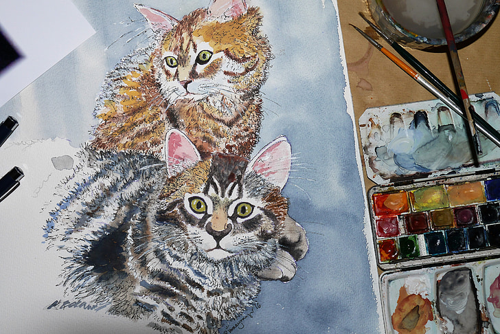 painting of brown and gray cats
