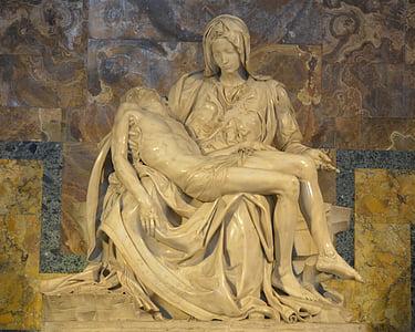 Jesus lying on Mary's lap statue