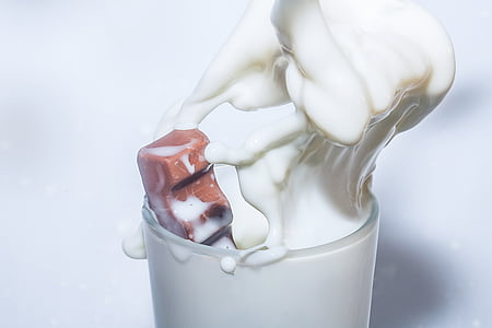 macro photo of glass of milk
