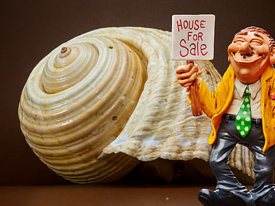 man wearing yellow blazer holding house for sale sign illustration