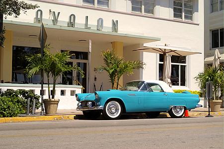 blue coupe near Ovalon building