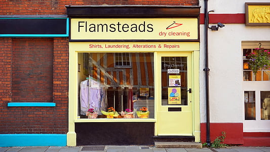 Flamsteads dry cleaning shirts, laundering, alterations, & repair store front