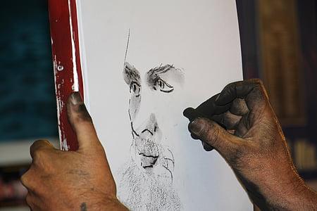 man face charcoal portrait