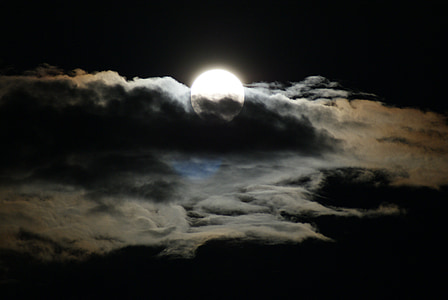 photo of full moon with clouds